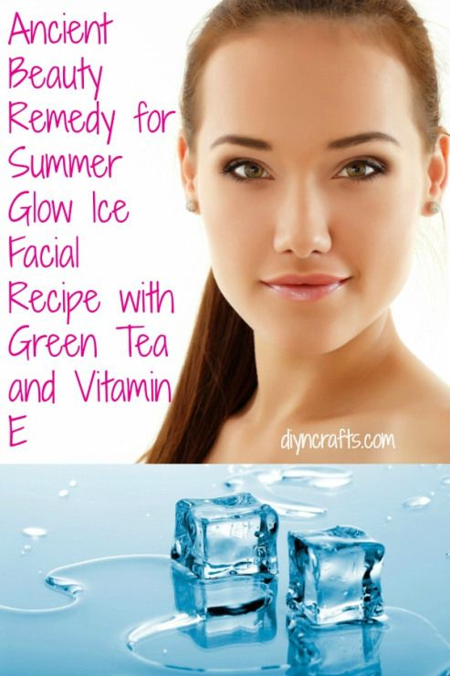 ICE This DIY ice facial is an excellent way to reduce swelling in the morning and close off those large pores. Ice facials are popular around Asia and this one adds Vitamin E and green tea for added benefit. You just use it first thing in the morning, after your hot shower, and it will keep your skin looking radiant and beautiful all day long.