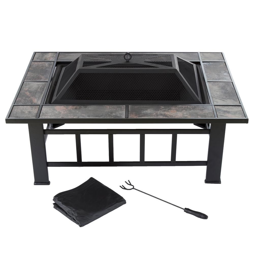 Photo of Pure Garden 37 Inch Steel Rectangular Tile Fireplace with Cover-M150072 – The Home De …