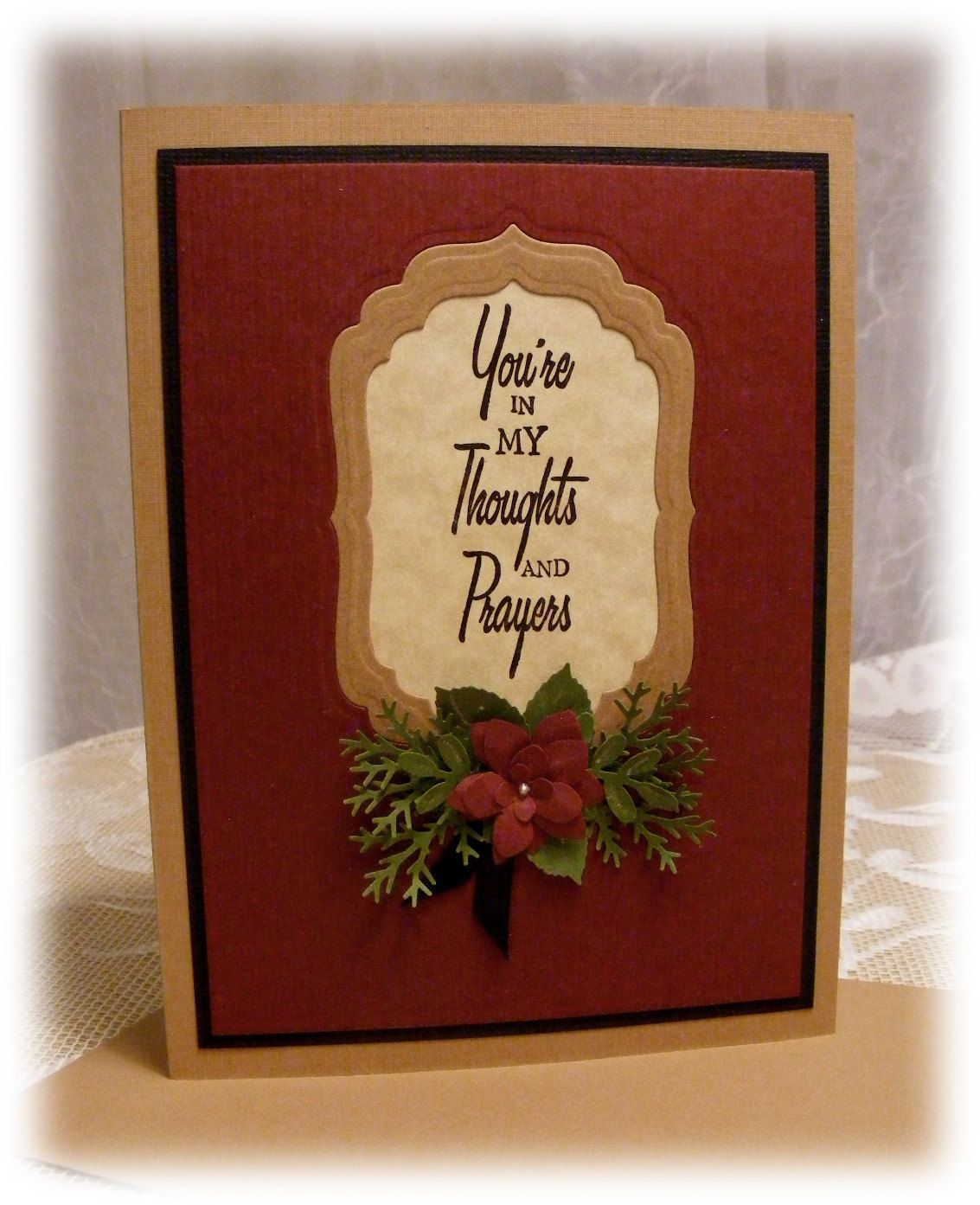 """Handmade """"You're in my Thoughts and Prayers"""" Sympathy or Encouragement Greeting Card with 3D flower. $4.00, via Etsy."""