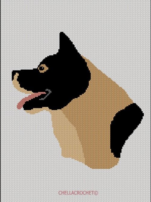 BOXER dog Graph Afghan Pattern Chart Crochet Patterns