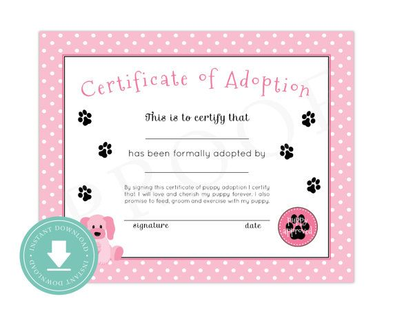 Instant download puppy adoption certificate puppy birthday puppy pawty puppy party printable for Printable adoption certificate