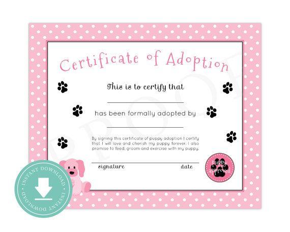 Instant Download Puppy Adoption Certificate Puppy Birthday Puppy