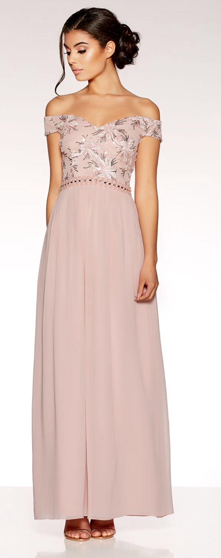 Dusty pink bardot embroidered maxi dress bridesmaid dresses