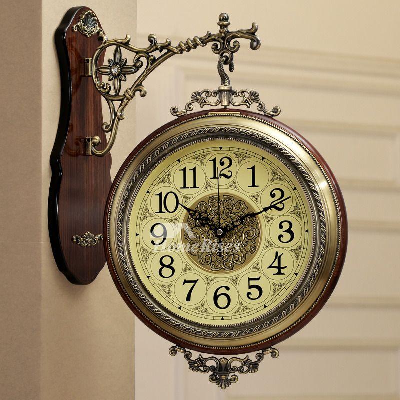 Living Room Wall Clocks Wood Metal Hanging Silent Round Double Sided Wall Clocks Living Room Wood Wall Clock Clock Wall Decor