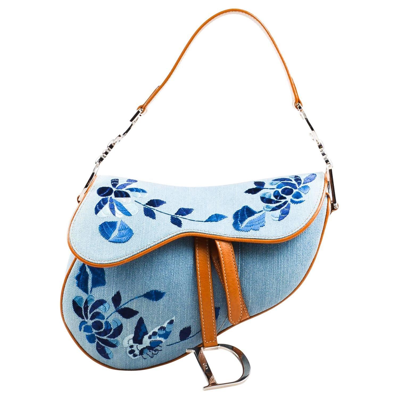Christian Dior Light Blue Tan Denim Leather Embroidered Shoulder  Saddle   Bag… 544b7ef7fc50d