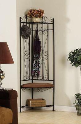 Corner Coat Rack And Bench With Entryway Storage Metal Hall Tree