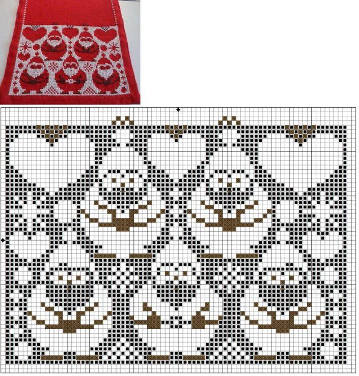 Santa Claus fair isle pattern   Cross stitch christmas and winter ...
