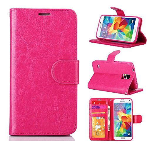 Galaxy S5 Case VPR Premium Wallet Luxury PU Leather Wallet Strong Magnetic Closure Flip Protective Cover with 3 Card Slots  Stand For Samsung Galaxy S5 Galaxy SV Galaxy S5 I9600 Rose * Check this awesome product by going to the link at the image.