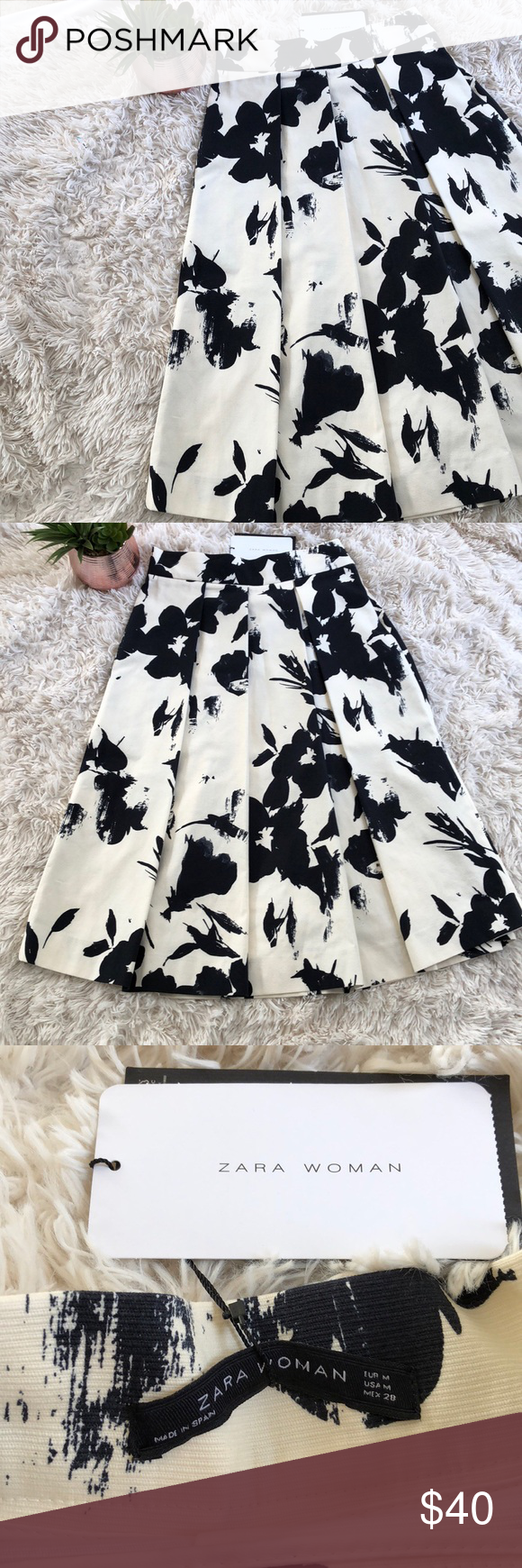 f645a6b5b6 Zara Women Pleated Floral Midi Skirt Beautiful light cream with navy floral  detail. Midi style, best to wear high waisted with a zipper.
