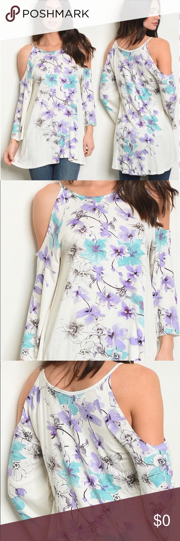e3d0f876012260 ❤️DARLING IVORY COLD SHOULDER FLORAL TUNIC TOP  Darling ivory cold shoulder  floral tunic top