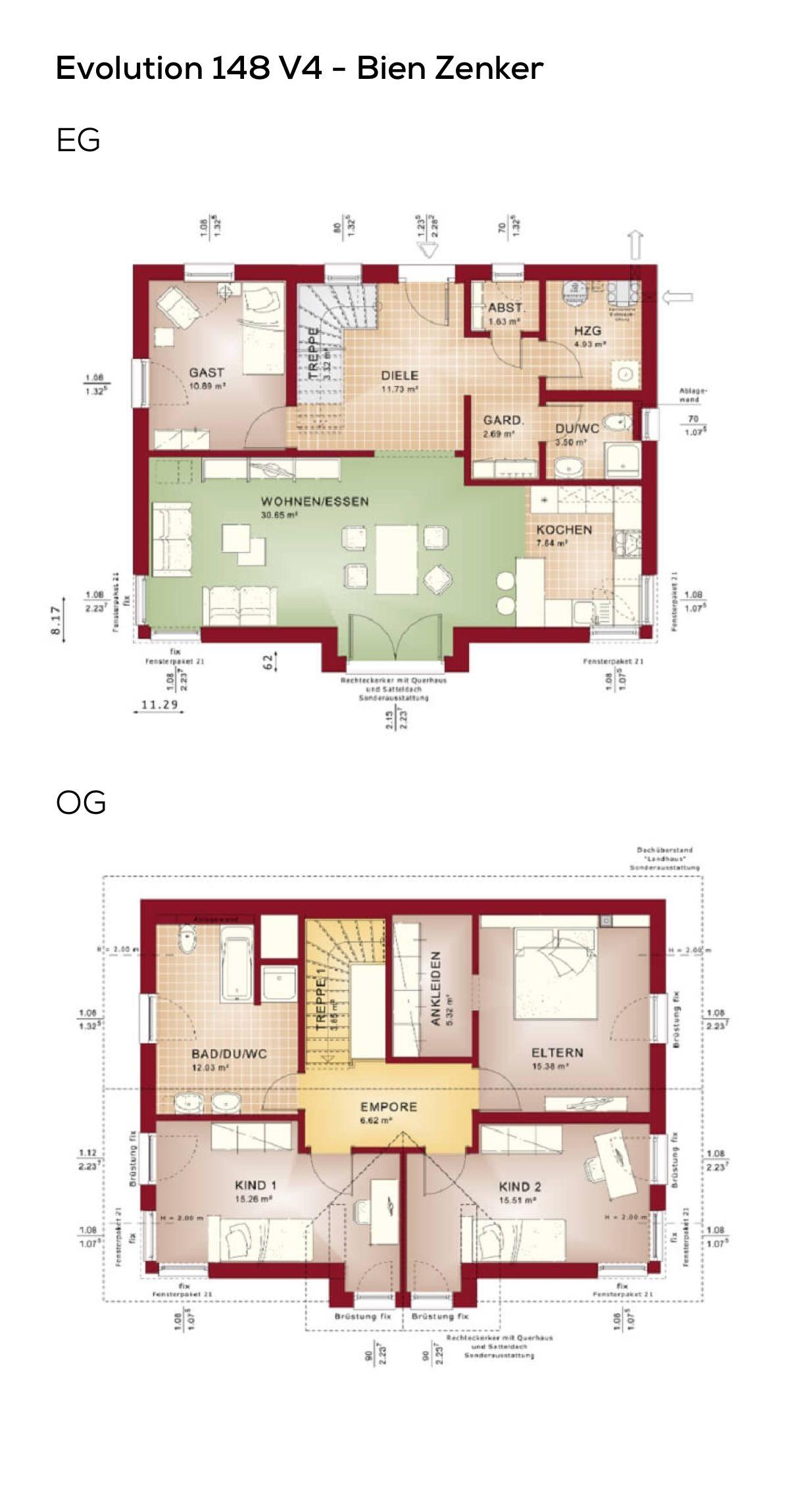 grundriss stadtvilla 150 qm wohnflche 5 zimmer satteldach architektur mediterran erdgeschoss obergeschoss grundrisse haus evolution 148 v4 bien
