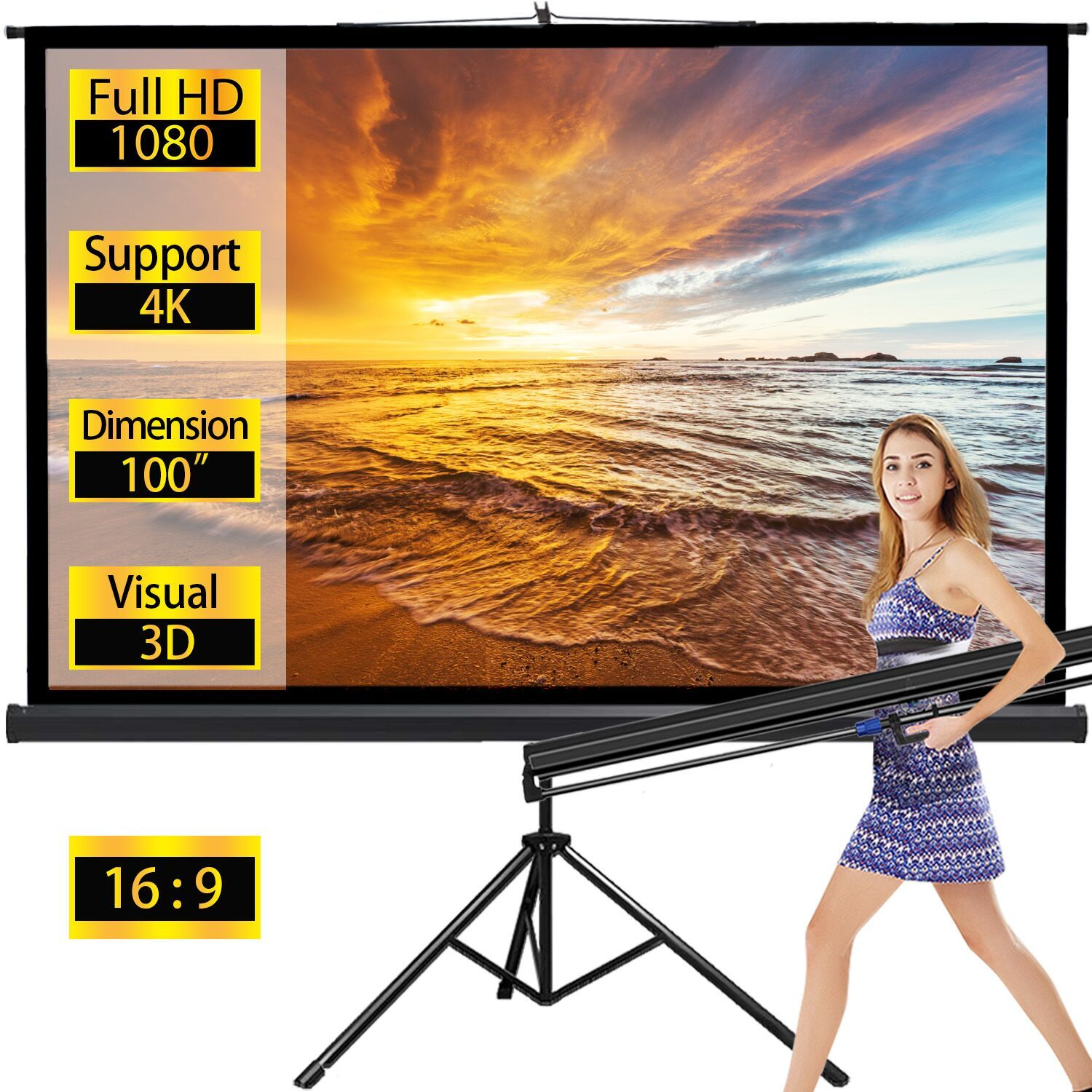 Projector Screen Tv Hd Large Movie Screen Theater Cinema Tripod Stand For Home Office Outdoor Indoor Folding Wedding Party Presentation 16 9 100 Inches Black In 2020 Outdoor Projection Screen Movie Screen Projector Screen