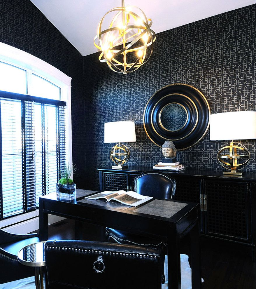 vallone design elegant office. Atmosphere Interior Design Inc. AMAZING Black And Gold Office Space -- Love The Wallpaper Wall Deco Vallone Elegant D