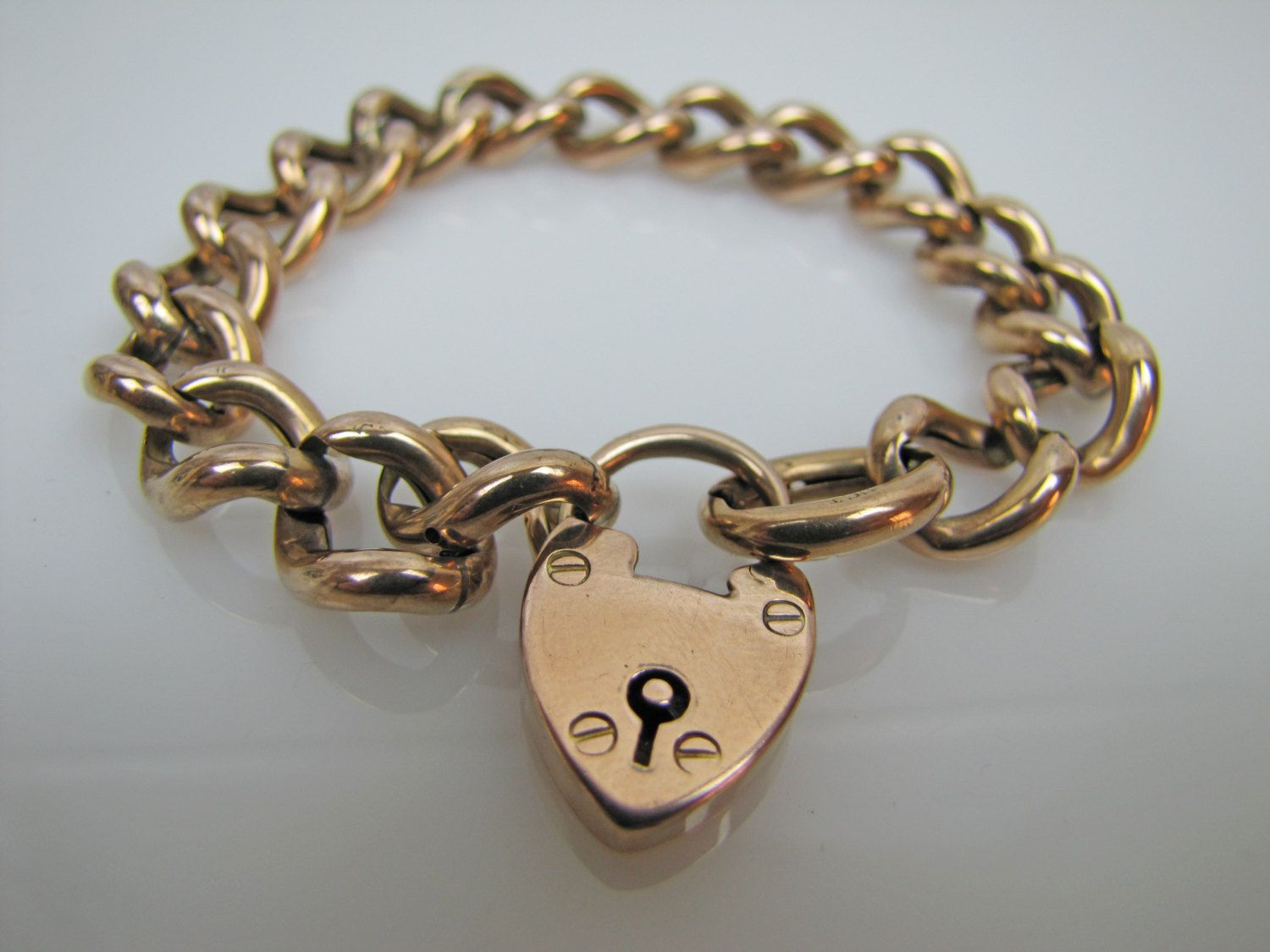 Antique Rose Gold Padlock Heart Charm Bracelet 9 Carat English Curb Figaro Chain Hallmark 1904 Victorian Edwaridan Love Token Jewelry By Mercymadge
