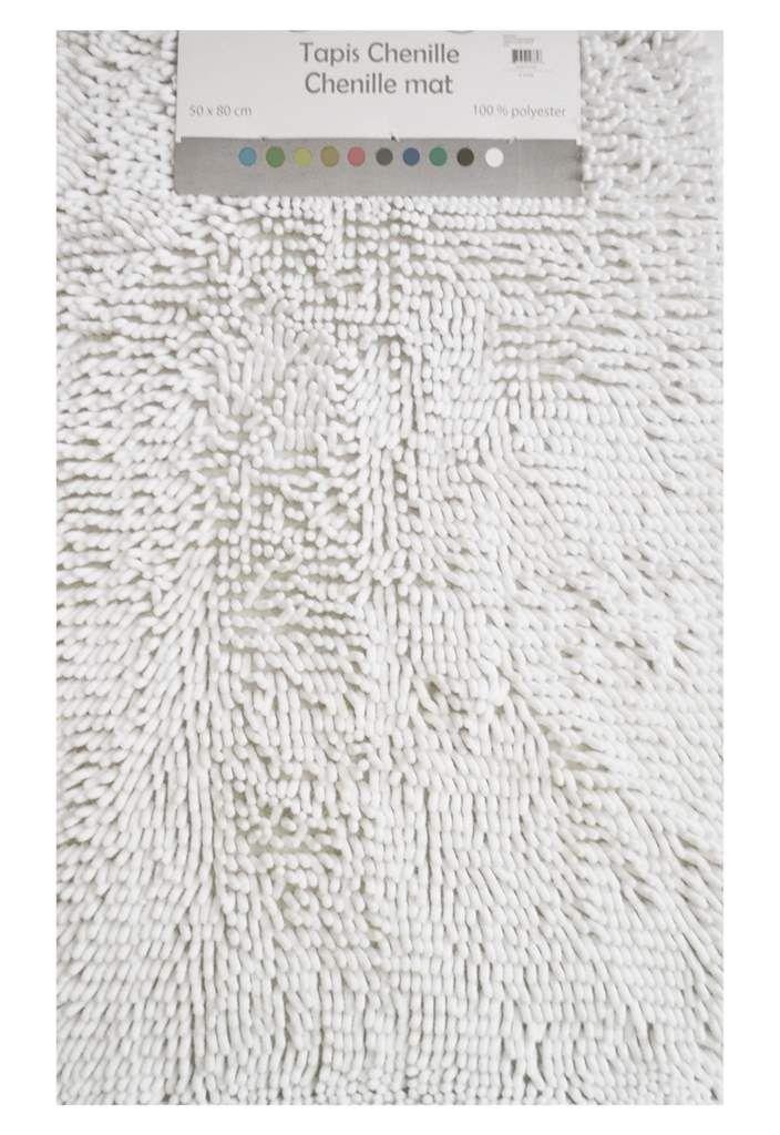 tapis chenille blanc Tapis salle de bain Pinterest