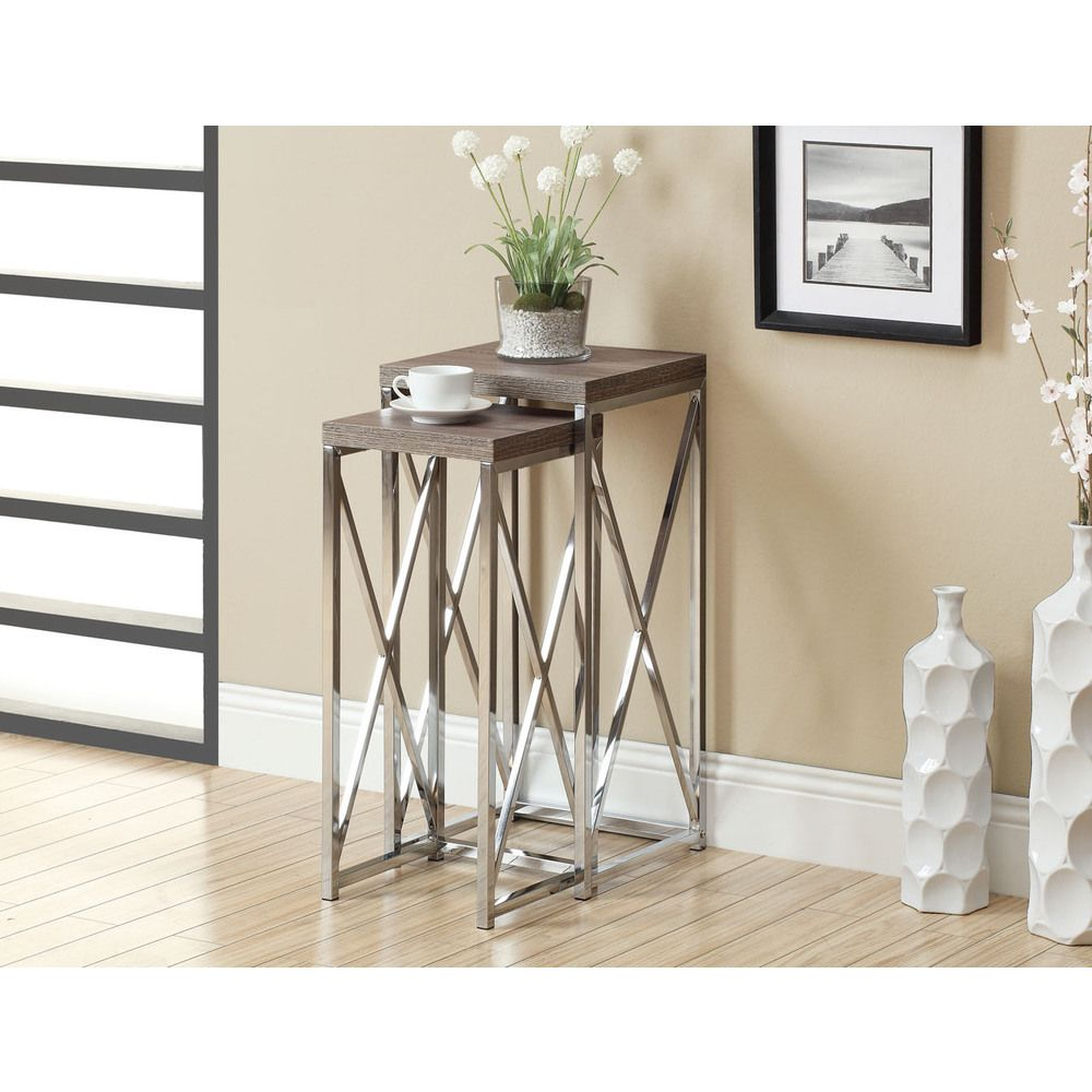 Dark Taupe Reclaimed-look Chrome Plant Stands (Set Of 2