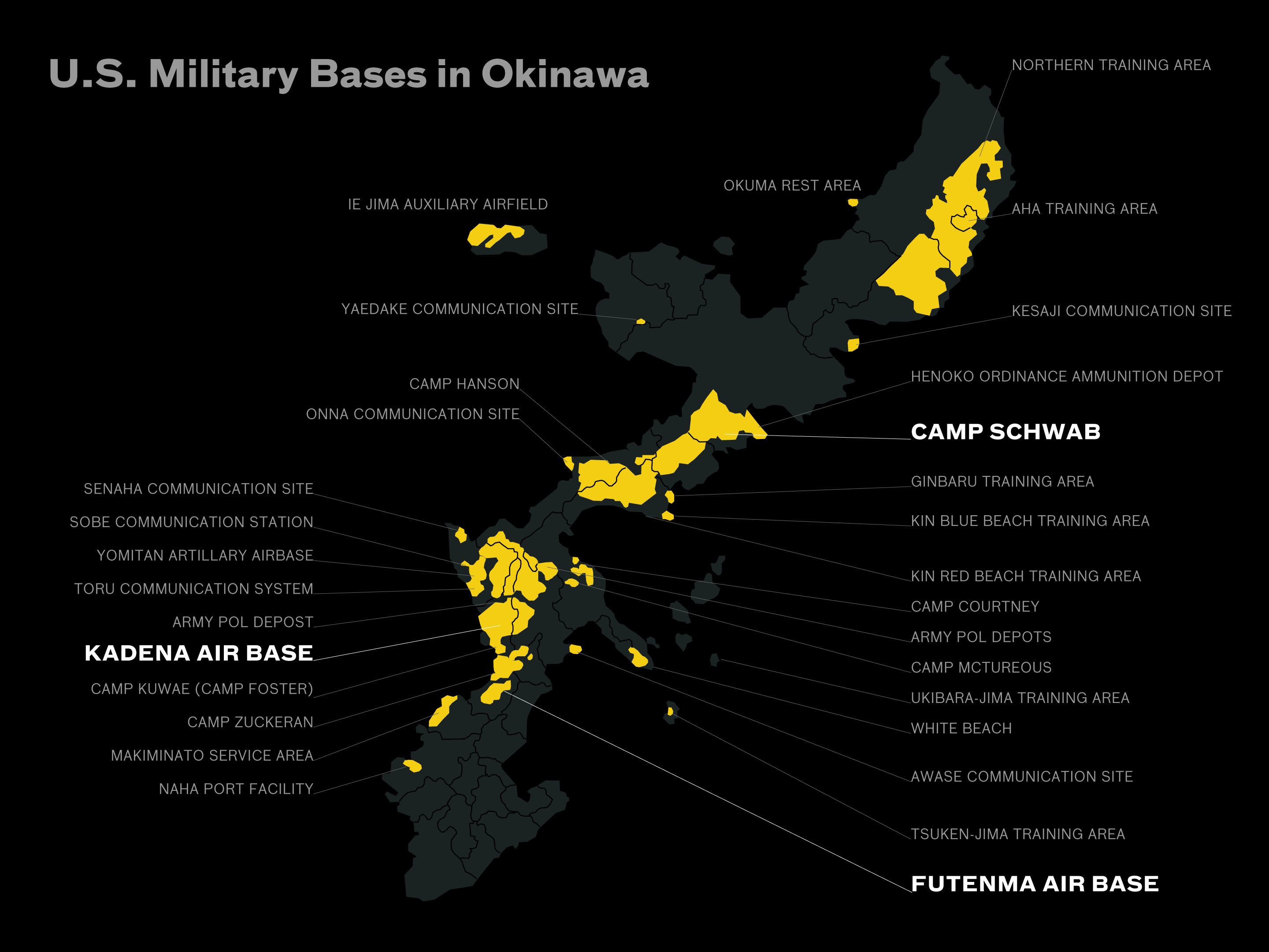 Map Of Okinawa Military Bases Background Surrounding The - Us military bases in okinawa map