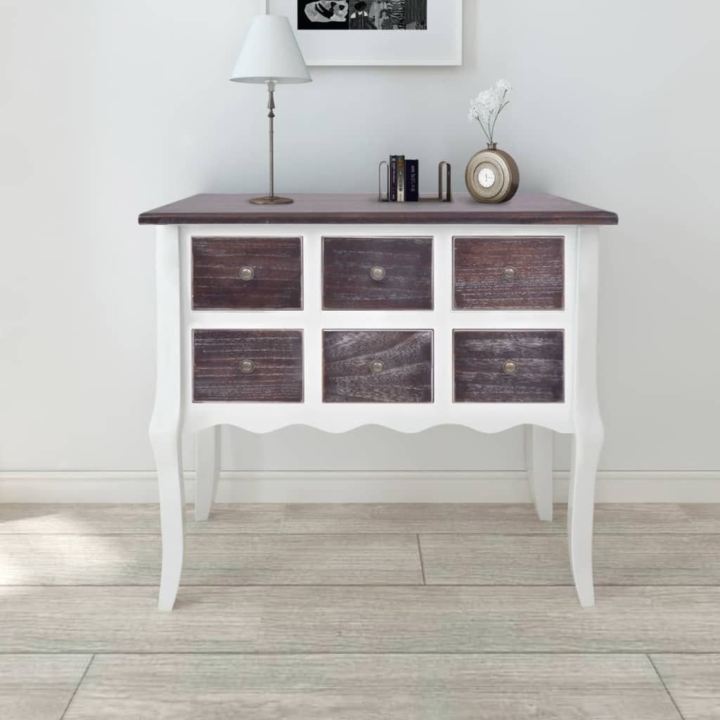 Photo of ZUN Console Cabinet 6 Drawers Brown and White Wooden 240402