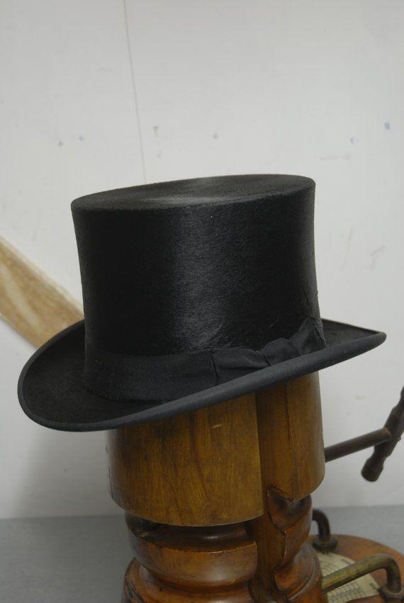 Beautiful Vintage Black Silk Top Hat Superior Finish Uk 6 3 4 Us 6 7 8 Eu 55 Black Silk Top Black Silk Top Hat