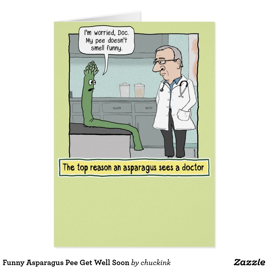 Funny asparagus pee get well soon card in