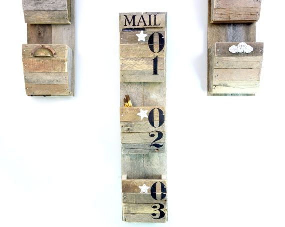 Wall Hanging Mail Organizer personalized mail organizer with numbered bins - reclaimed wood