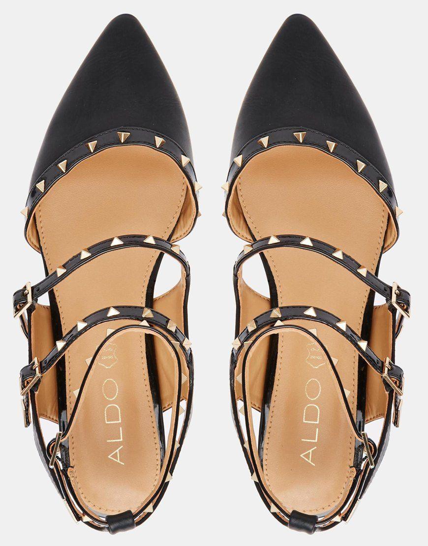 Image 3 ofALDO Zerah Black Studded Flat Black Shoes