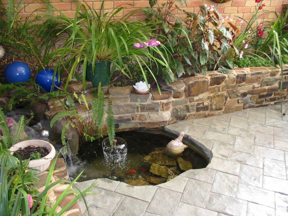 Waterfall into fish pond fayetteville small pond waterfall for Best plants for outdoor fish ponds