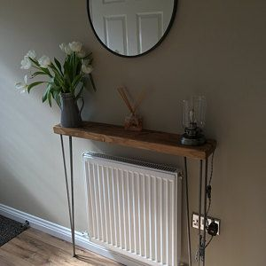 Narrow console table with hairpin legs, wooden rustic hallway table