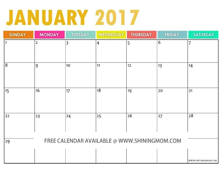 The Free Printable 2017 Calendar by 2016 calendar, Free and Planners - printable monthly calendar sample