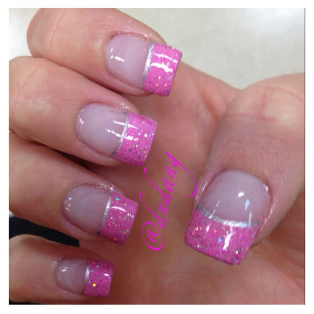pink and glitter french tip nails