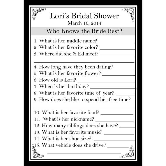 24 personalized bridal shower game cards who knows the bride best 24 personalized bridal shower game cards who knows the bride best classic black bridesmaid m4hsunfo