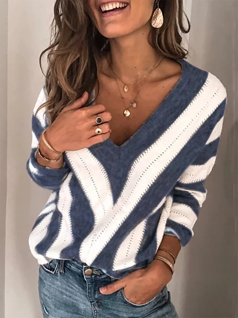 Six-o-seven-cuello redondo suéter gris Weiss manga larga camisa opaca top nuevo 119 €