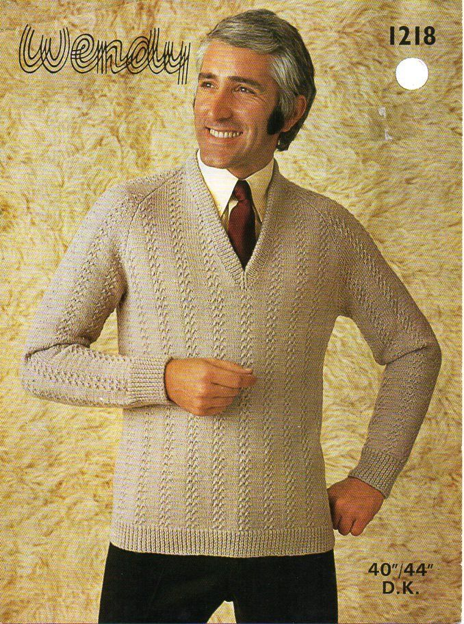 5762a3a2409e77 Vintage mens sweater knitting pattern PDF DK mans pattern rib jumper v neck  40-44 incg DK light worsted 8ply Instant Download by Hobohooks on Etsy