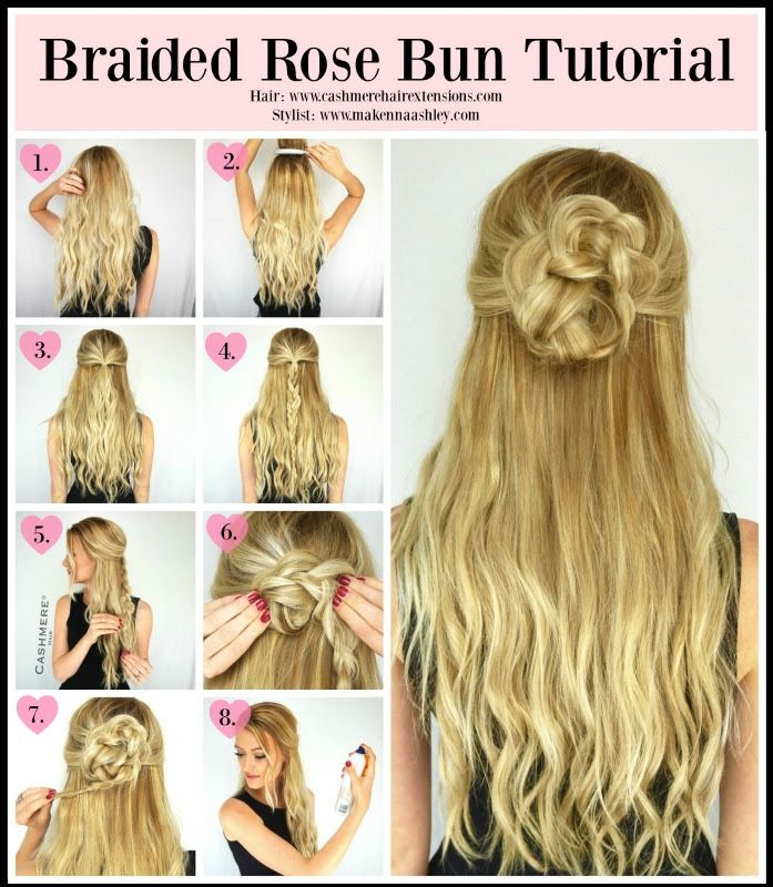Braided Rose Bun Hair Tutorial Braided Rose Hairstyle Braids For Short Hair Hair Bun Tutorial