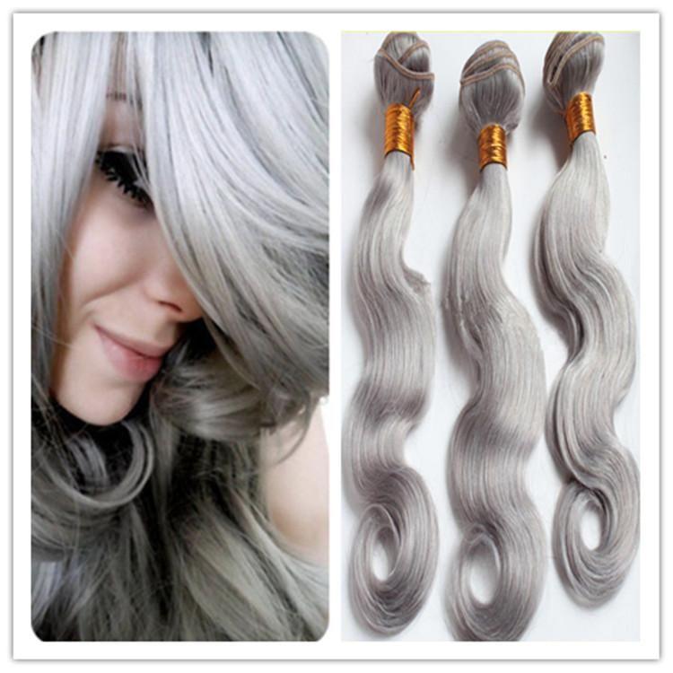 Cheap 8a Silver Grey Brazilian Virgin Hair Weft Body Wave Human Hair