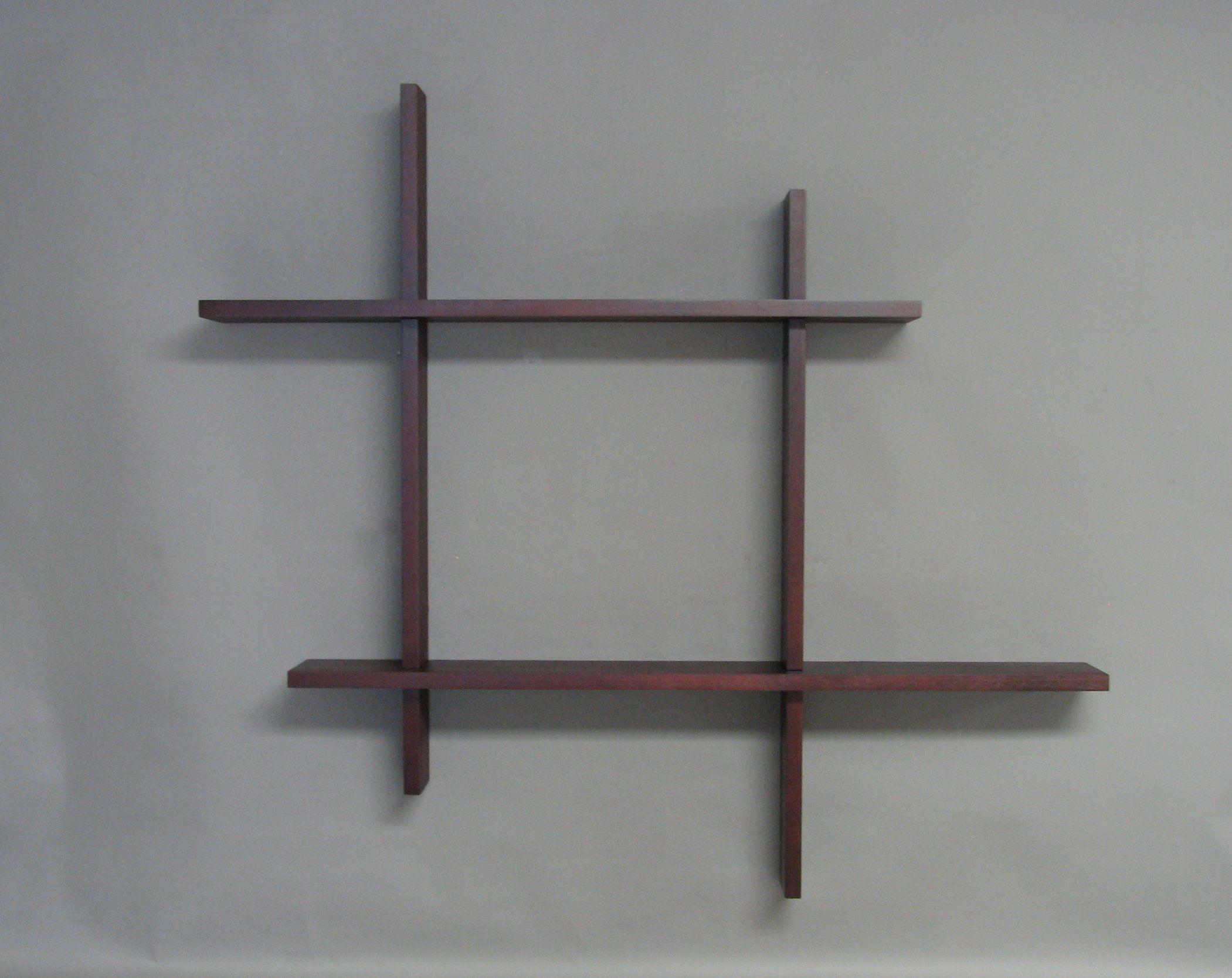 Modern Double Floating Shelf Dark Cherry Shelves