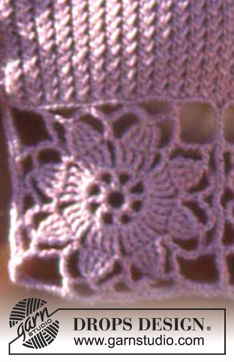 Drops Short Top In Safran With Crocheted Flower Squares Drops