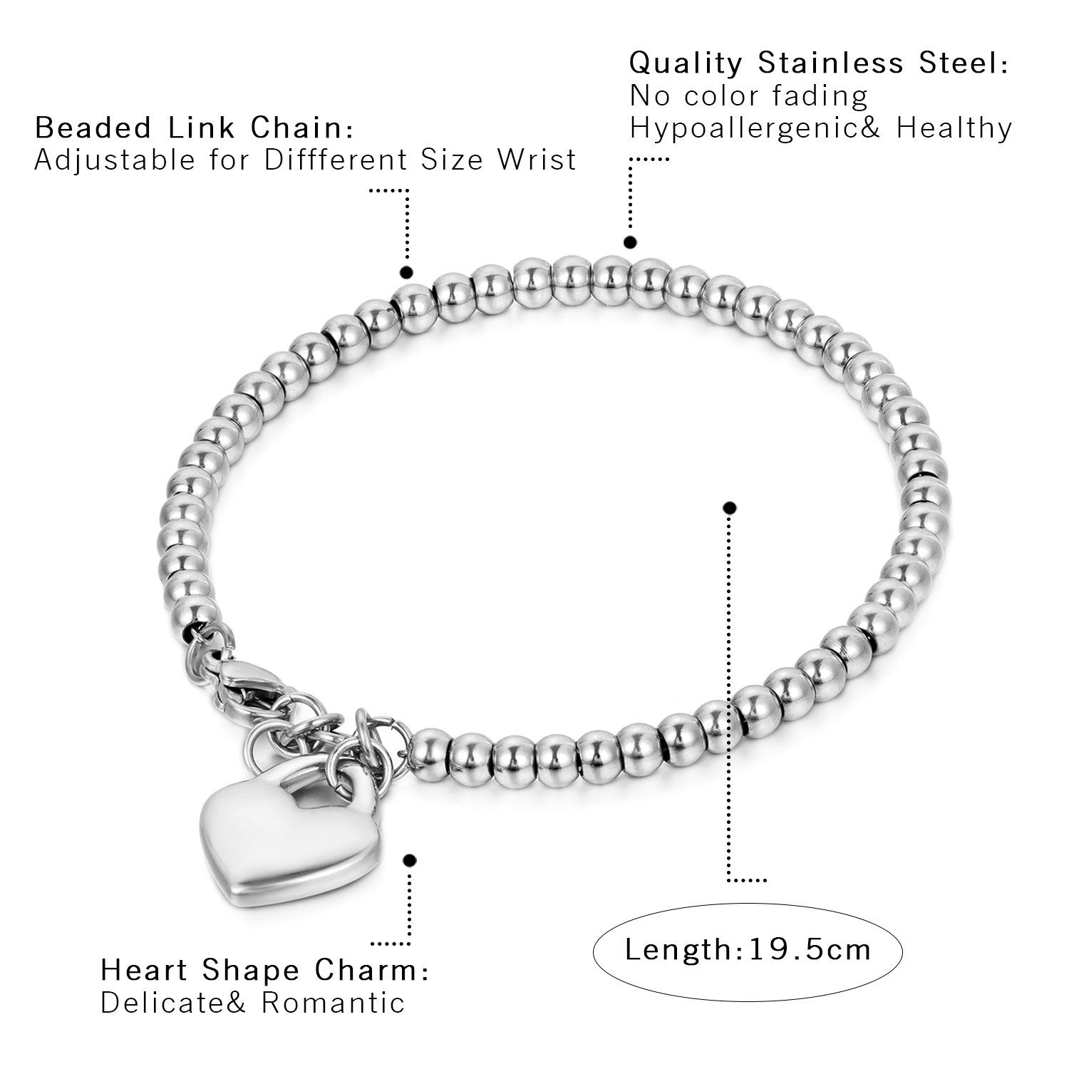 Cupimatch stainless steel love heart charm bracelet for women girls