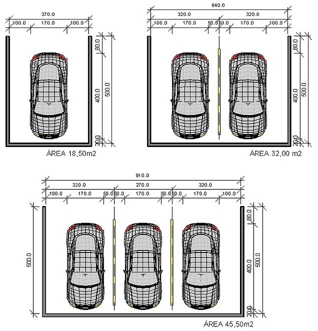 Medida para garagem pesquisa google mais arquitetura for 2 costo del garage
