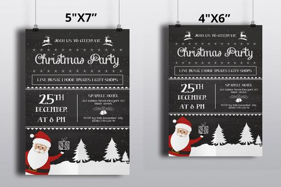 Christmas Invitations Template Vintage Chalkboard Christmas Party