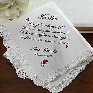 Joyful Tears Personalized Wedding Handkerchief Gifts For Mommother