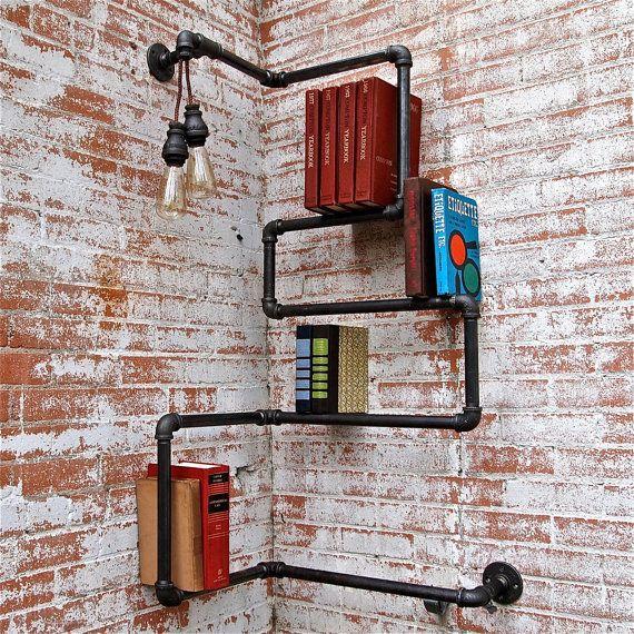 eck b cherregal design ideen rohren wohnen pinterest. Black Bedroom Furniture Sets. Home Design Ideas