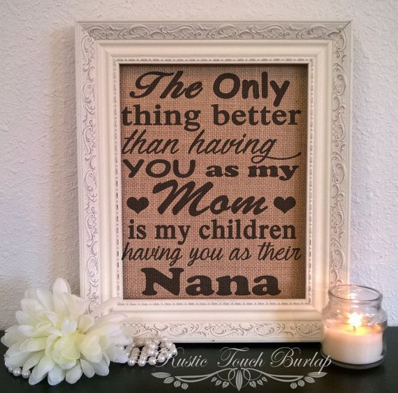 Grandmother Birthday Gift Grandma Mother Mom Burlap Print Sign For Nana