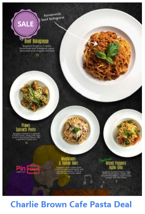 Best Italian Pasta Spaghetti Deal Promotion In Singapore Now At Charlie Brown Cafe Cathay Cineleisure Orchard Ma Italian Recipes Charlie Brown Cafe Cafe Pasta