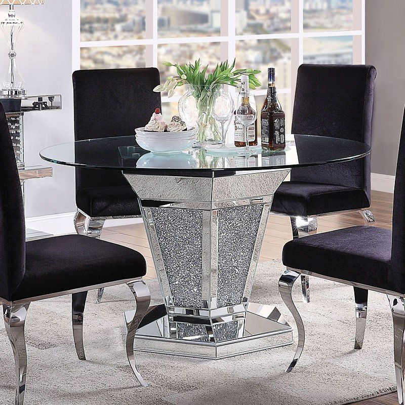 Noralie Round Dining Table Mirrored Furniture Mirrored Coffee