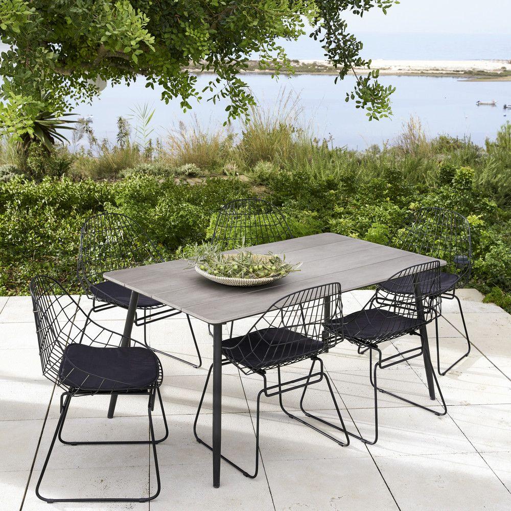 Table de jardin 4/6 personnes en composite et aluminium noir L160 ...