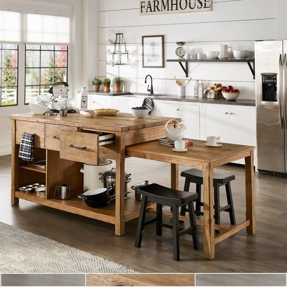 An Extendable Kitchen Island Because Your Place Didn T Come With A Lot Of Counter Space Thi Kitchen Island With Seating Kitchen Island Table Kitchen Furniture