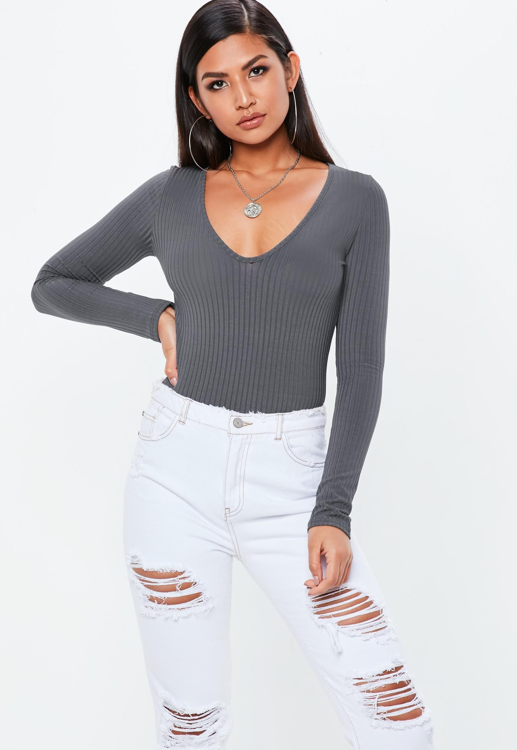 0f6c5f097a38d0 Gray V Neck Ribbed Long Sleeve Bodysuit | Missguided. Gray V Neck Ribbed Long  Sleeve Bodysuit | Missguided Womens ...