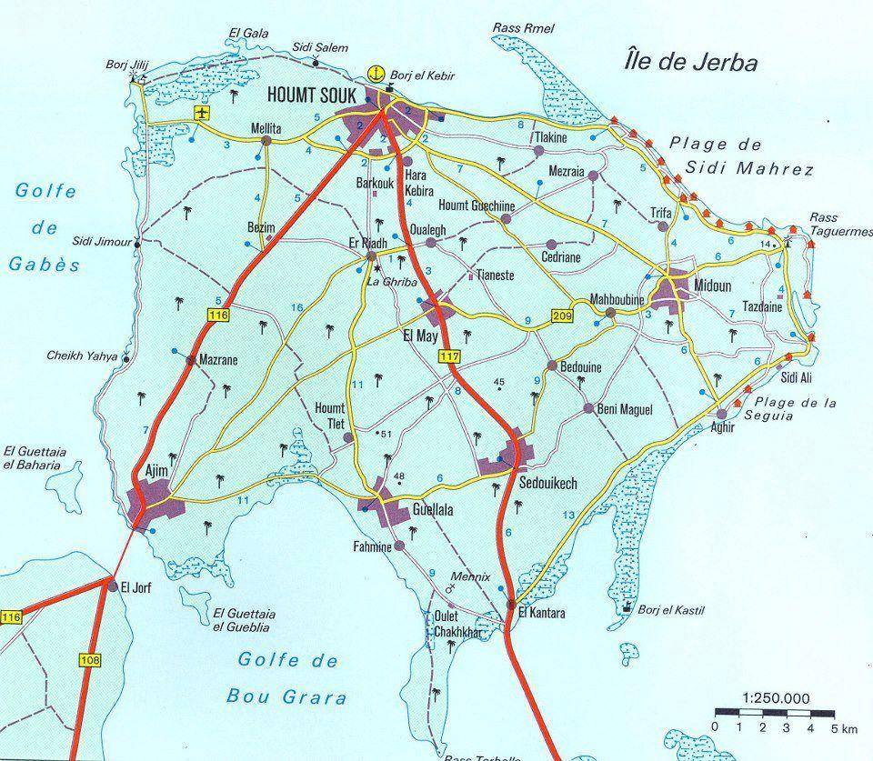 Djerba Djerba Tunisie Paysage Carte