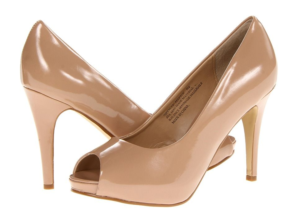 Wide Width Shoes: Spencer- Peep Toe Pump (Nude Patent) High Heels #